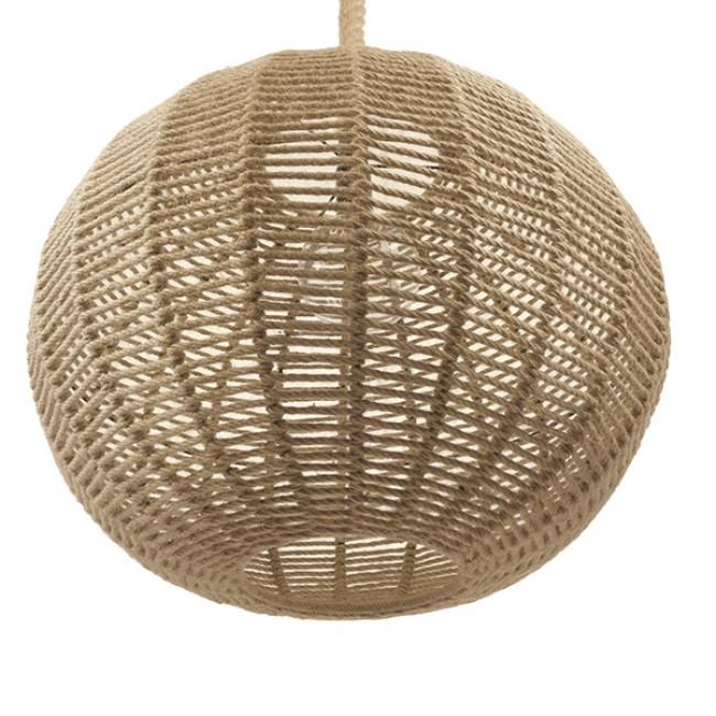 Vintage Κρεμαστό Φωτιστικό Οροφής Μονόφωτο Πλέγμα με Μπεζ Σχοινί Φ60 GloboStar LITTON 01593 - 5