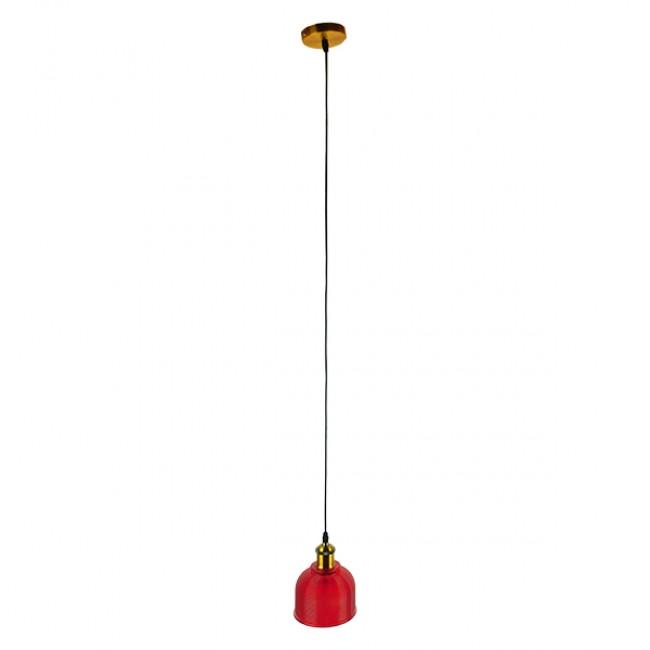 Vintage Κρεμαστό Φωτιστικό Οροφής Μονόφωτο Κόκκινο Γυάλινο Διάφανο Καμπάνα με Χρυσό Ντουί Φ14 GloboStar SEGRETO RED 01450 - 2