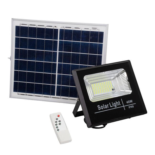 71555 Αυτόνομος Ηλιακός Προβολέας LED SMD 40W 3200lm με Ενσωματωμένη Μπαταρία 5000mAh - Φωτοβολταϊκό Πάνελ με Αισθητήρα Ημέρας-Νύχτας και Ασύρματο Χειριστήριο RF 2.4Ghz Αδιάβροχος IP66 Ψυχρό Λευκό 6000K - 2