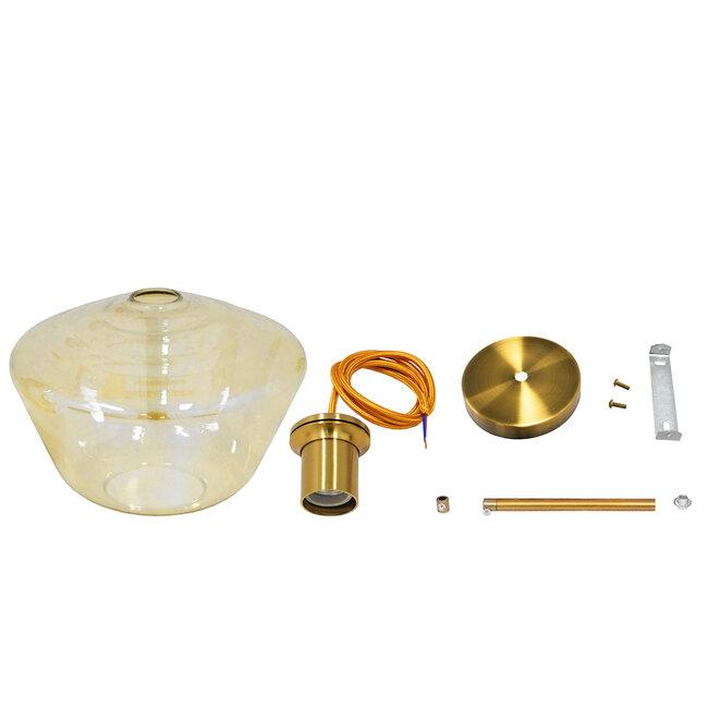 GloboStar® AMARIS 00870 Μοντέρνο Κρεμαστό Φωτιστικό Οροφής Μονόφωτο Γυάλινο Φιμέ Μελί Φ30 x 22CM - 7
