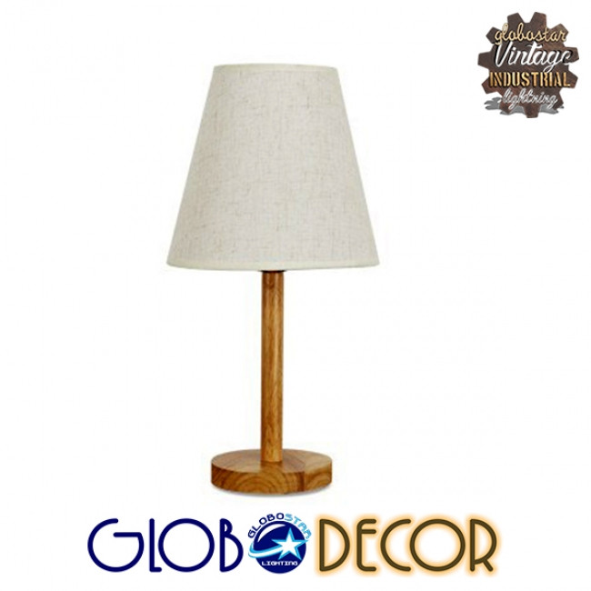 Μοντέρνο Επιτραπέζιο Φωτιστικό Πορτατίφ Μονόφωτο Ξύλινο με Λευκό Καπέλο Φ21 GloboStar NAPHIE 01208 - 5