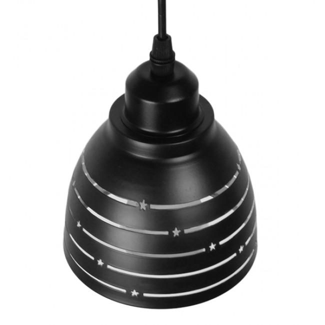 Μοντέρνο Κρεμαστό Φωτιστικό Οροφής Μονόφωτο Μεταλλικό Μαύρο Λευκό Καμπάνα Φ13 GloboStar LINE STARS 01483 - 4