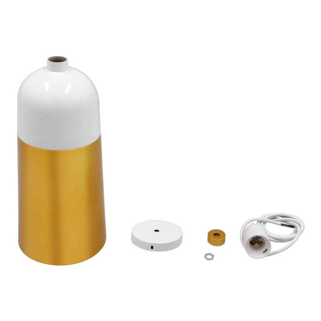 Μοντέρνο Κρεμαστό Φωτιστικό Οροφής Μονόφωτο Λευκό - Χρυσό Μεταλλικό Καμπάνα Φ14  PALAZZO GOLD WHITE 01524 - 10