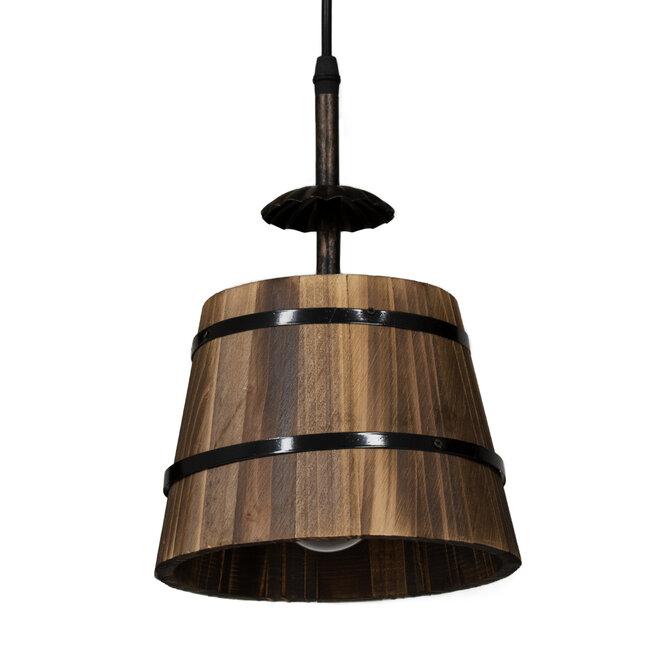 CEBU 00889 ΣΕΤ Vintage Κρεμαστό Φωτιστικό Οροφής Τρίφωτο Μεταλλικό Ξύλινο Μ55.5 x Π18.5 x Y210cm - 7