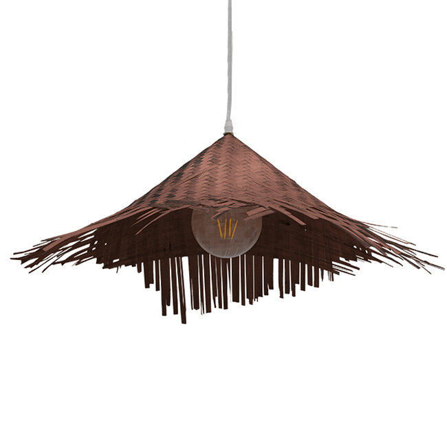Vintage Κρεμαστό Φωτιστικό Οροφής Μονόφωτο Καφέ Σκούρο Ξύλινο Ψάθινο Rattan Φ70  RICEHAT 01667 - 4