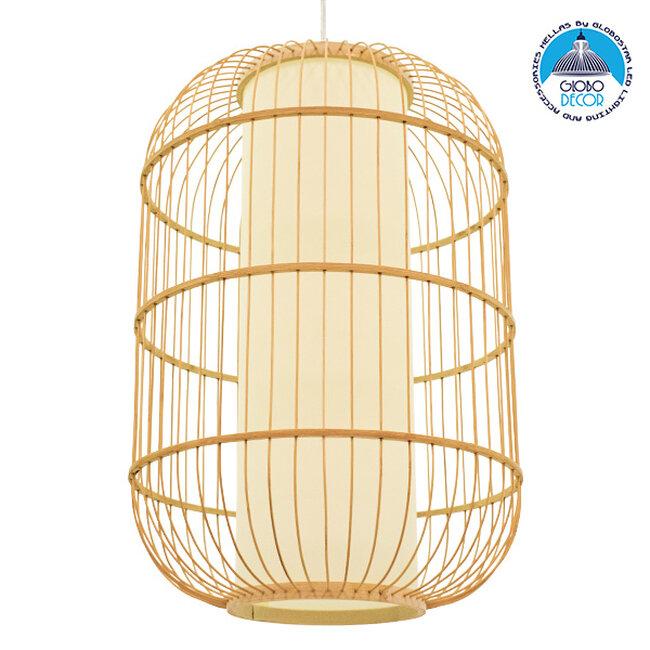 Vintage Κρεμαστό Φωτιστικό Οροφής Μονόφωτο Καφέ Ξύλινο Bamboo Ø40xΥ60cm GloboStar DE PARIS Ø40xΥ60cm 00891