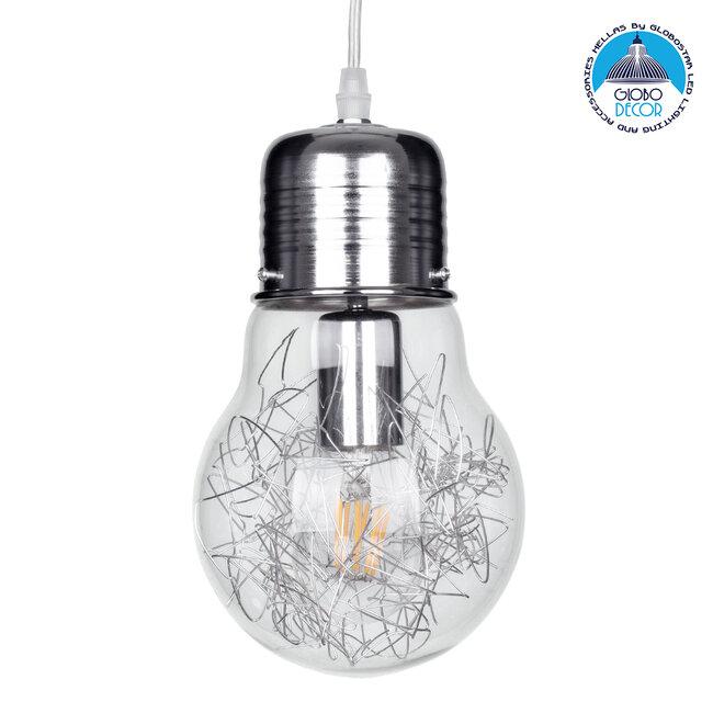 LAMP 01676 Μοντέρνο Κρεμαστό Φωτιστικό Οροφής Μονόφωτο Ασημί Νίκελ Μεταλλικό Διάφανο Γυαλί Φ15 x Υ27cm - 1