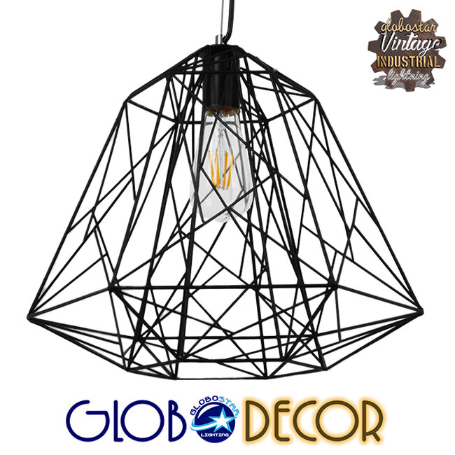Vintage Industrial Kρεμαστό Φωτιστικό Οροφής Μονόφωτο Μαύρο Μεταλλικό Πλέγμα Φ32  GRID 01022 - 1