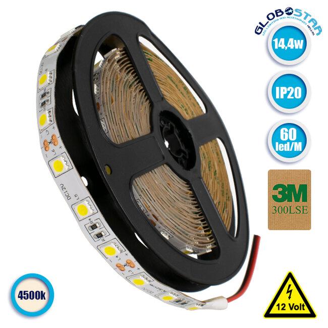 Ταινία LED 5050 SMD 5m 14.4W/m 60LED/m 1340 lm/m 120° DC 12V IP20 Φυσικό Λευκό 4500k GloboStar 70021 - 1