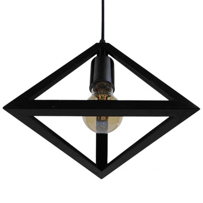 Μοντέρνο Κρεμαστό Φωτιστικό Οροφής Μονόφωτο Μαύρο Μεταλλικό Πλέγμα Φ25 GloboStar TRIANGLE 01063 - 10