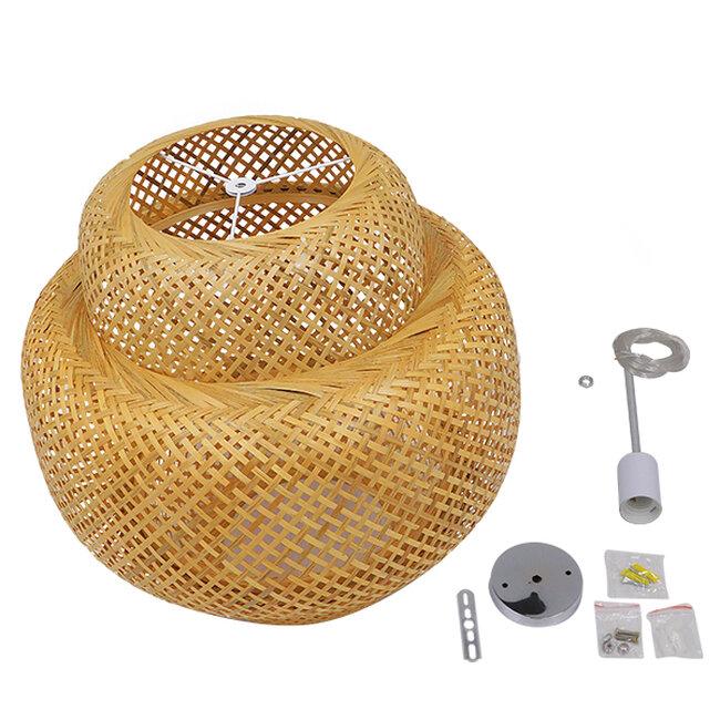 Vintage Κρεμαστό Φωτιστικό Οροφής Μονόφωτο Καφέ Ξύλινο Bamboo Φ56  MALVIDES LIGHT BROWN 01657 - 9