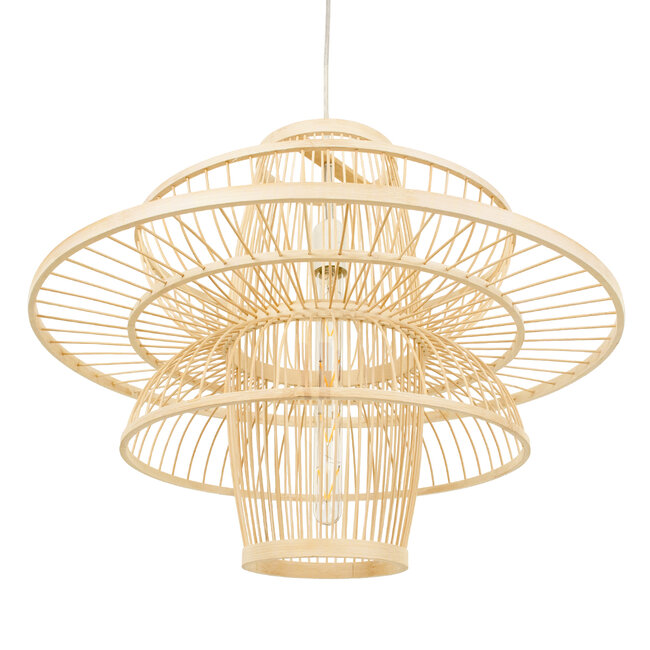 BALI 00862 Vintage Κρεμαστό Φωτιστικό Οροφής Μονόφωτο Μπεζ Ξύλινο Bamboo Φ60 x Y45cm - 6