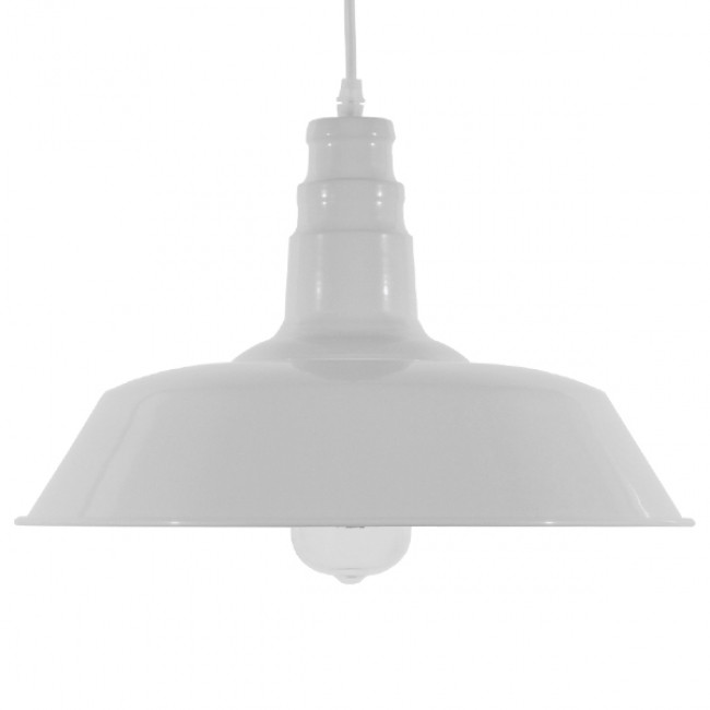 Vintage Industrial Κρεμαστό Φωτιστικό Οροφής Μονόφωτο Λευκό Μεταλλικό Καμπάνα Φ36 GloboStar RAY WHITE 01043 - 3