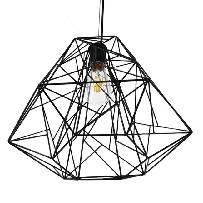 Vintage Industrial Kρεμαστό Φωτιστικό Οροφής Μονόφωτο Μαύρο Μεταλλικό Πλέγμα Φ32  GRID 01022 - 5