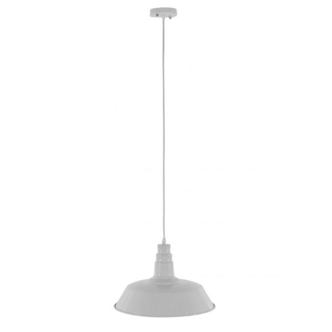 Vintage Industrial Κρεμαστό Φωτιστικό Οροφής Μονόφωτο Λευκό Μεταλλικό Καμπάνα Φ36 GloboStar RAY WHITE 01043 - 2