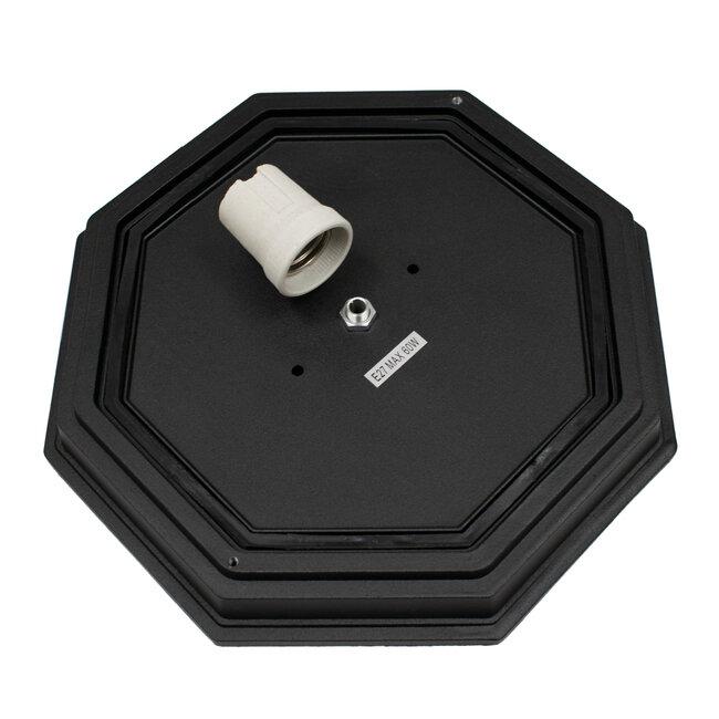GloboStar® RUBY 00912 Vintage Μεταλλικό Φωτιστικό Πλαφονιέρα Οροφής - Απλίκα Τοίχου από Αλουμίνιο με Ντουί E27 Μονόφωτο Μαύρο με Γαλακτερό Γυαλί Μ27 x Π27 x Υ12cm - 7