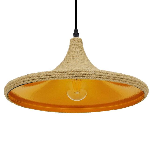 Vintage Κρεμαστό Φωτιστικό Οροφής Μονόφωτο με Μπεζ Σχοινί Καμπάνα  BEIJING Φ37 00917 - 6