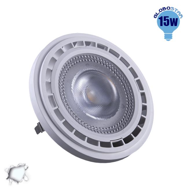 Λάμπα LED AR111 G53 Σποτ 15W 230V 1500lm 12° Ψυχρό Λευκό 6000k GloboStar 01766