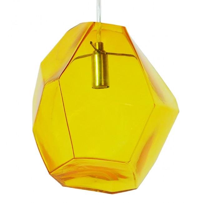Μοντέρνο Κρεμαστό Φωτιστικό Οροφής Μονόφωτο Γυάλινο Κίτρινο Διάφανο GloboStar RINA 01308 - 1