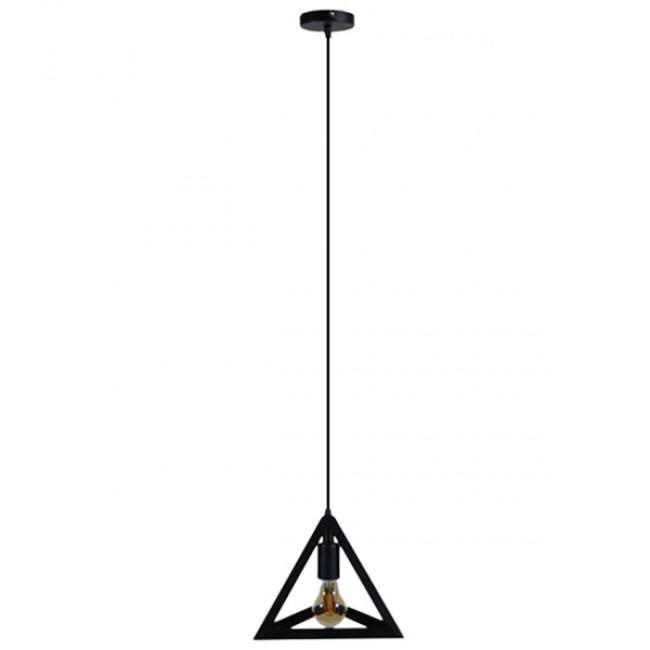 Μοντέρνο Κρεμαστό Φωτιστικό Οροφής Μονόφωτο Μαύρο Μεταλλικό Πλέγμα Φ25 GloboStar TRIANGLE 01063 - 2