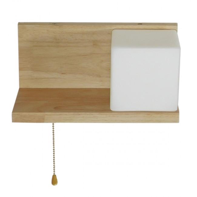 Μοντέρνο Φωτιστικό Τοίχου Απλίκα Ραφάκι Μονόφωτο Ξύλινο με Λευκό Ματ Γυαλί GloboStar AMITY RIGHT 01366 - 11