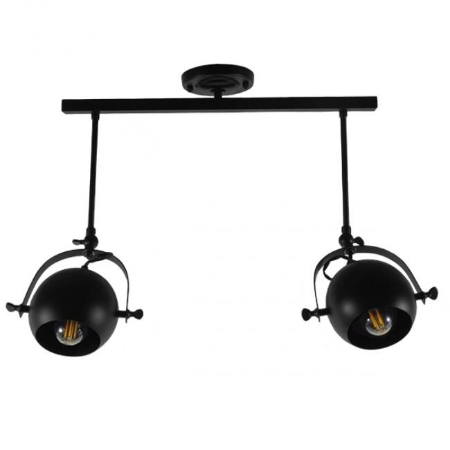 Μοντέρνο Φωτιστικό Οροφής Δίφωτο Μαύρο Μεταλλικό Ράγα  CANNES 01081 - 4