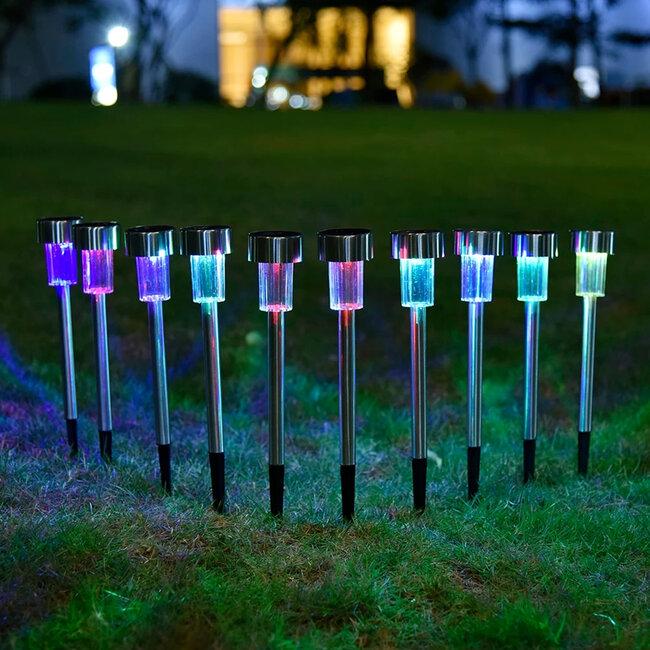 71522-10 ΣΕΤ 10 Τεμαχίων Αυτόνομα Ηλιακά Φωτιστικά LED SMD 1W 90lm με Ενσωματωμένη Μπαταρία 600mAh - Φωτοβολταϊκό Πάνελ με Αισθητήρα Ημέρας-Νύχτας Αδιάβροχο IP65 Φανάρι Κήπου Στρογγυλό Πολύχρωμο RGB - 4