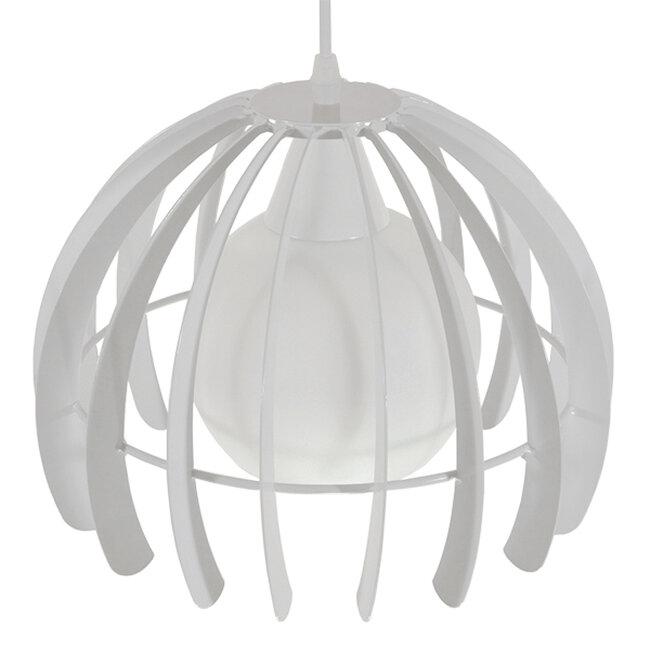 Μοντέρνο Κρεμαστό Φωτιστικό Οροφής Μονόφωτο Λευκό Μεταλλικό Πλέγμα με Λευκό Γυαλί Φ26  STEPHEN 01225 - 4