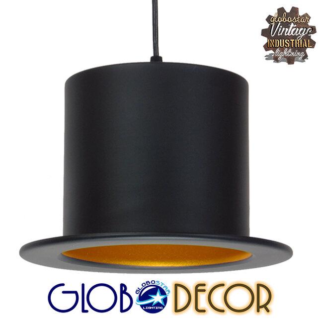 Vintage Κρεμαστό Φωτιστικό Οροφής Μονόφωτο Μαύρο Μεταλλικό Καμπάνα Φ26 GloboStar SHERLOCK 01215 - 1