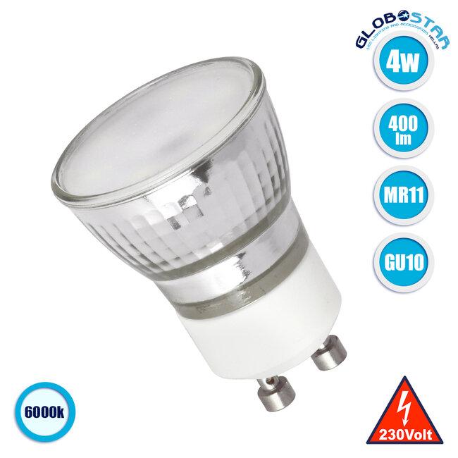 GloboStar® 76006 Λάμπα MR11 με βάση GU10 Mini Σποτ LED 4W 400lm 120° AC 85-265V με Λευκό Γαλακτερό Γυαλί Ψυχρό Λευκό 6000K