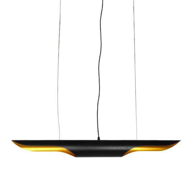Μοντέρνο Κρεμαστό Φωτιστικό Οροφής 100cm Δίφωτο Μαύρο Χρυσό Μεταλλικό GloboStar NEBULA 01473 - 1