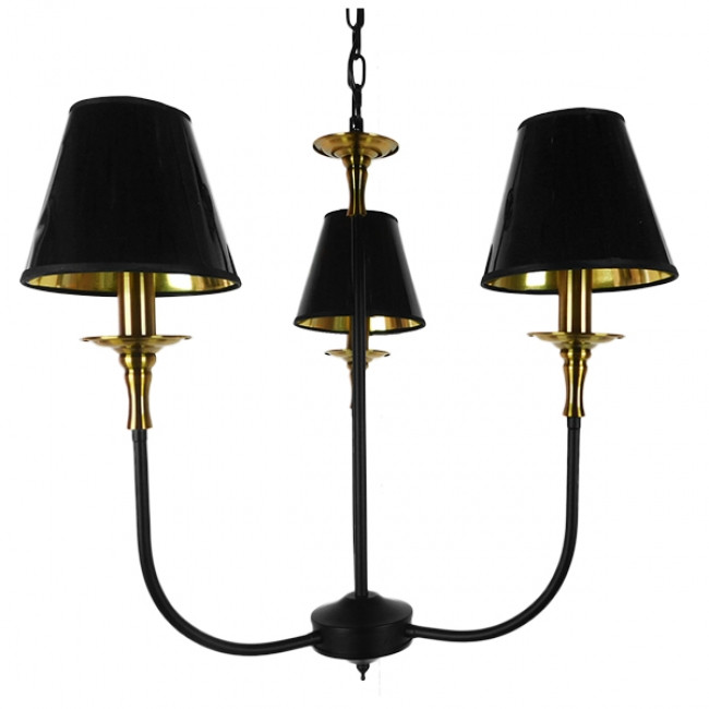 Vintage Industrial Κρεμαστό Φωτιστικό Οροφής Τρίφωτο Μαύρο Μεταλλικό Πολυέλαιος με Καπέλο Φ56 GloboStar LIMI 01091