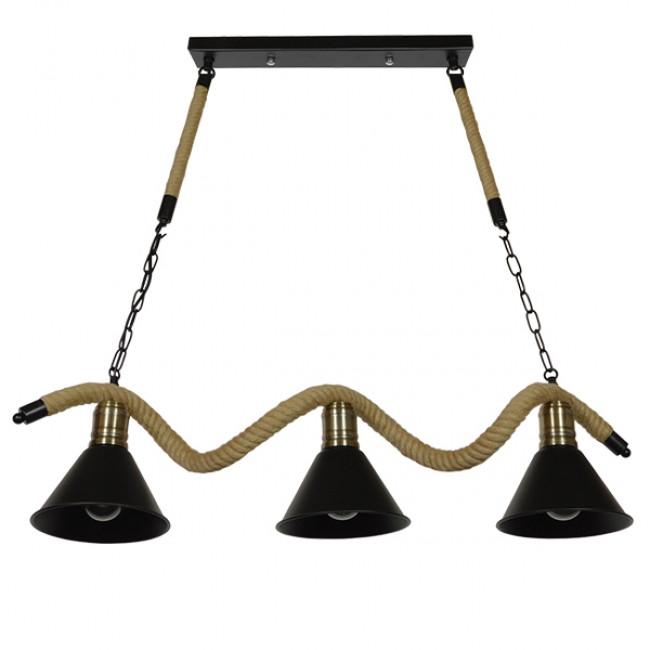 Vintage Φωτιστικό Οροφής Τρίφωτο Μαύρο Μεταλλικό Καμπάνα με Μπεζ Σχοινί  TYMEN 01189 - 3