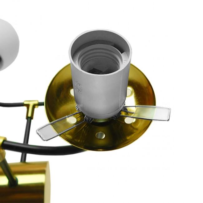Vintage Industrial Φωτιστικό Οροφής Πολύφωτο Μαύρο Χρυσό Μεταλλικό Πολυέλαιος με Γυάλινες Μπάλες Λευκό Ματ GloboStar STARDUST 01649 - 9