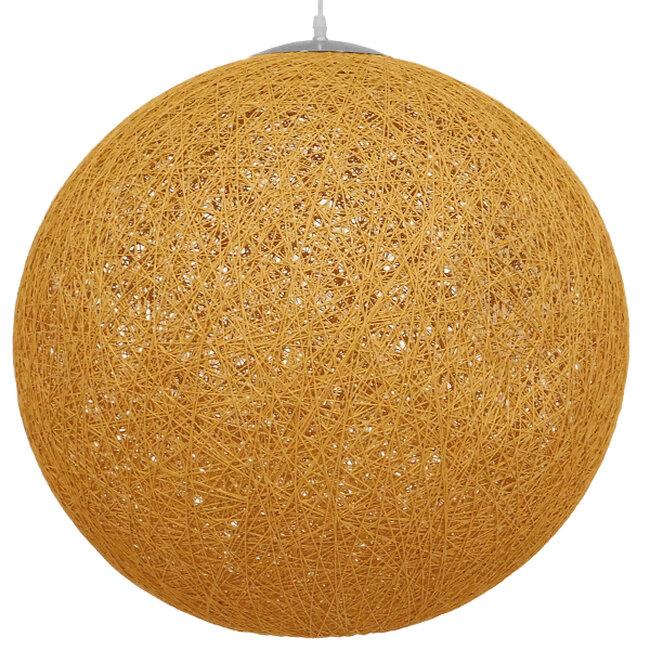 Vintage Κρεμαστό Φωτιστικό Οροφής Μονόφωτο Μπεζ Χρυσό Ξύλινο Ψάθινο Rattan Φ60  LOFT 01361 - 3