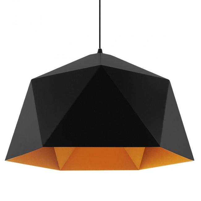 Μοντέρνο Κρεμαστό Φωτιστικό Οροφής Μονόφωτο Μαύρο Χρυσό Μεταλλικό Καμπάνα Φ46 GloboStar SYLRA 01195