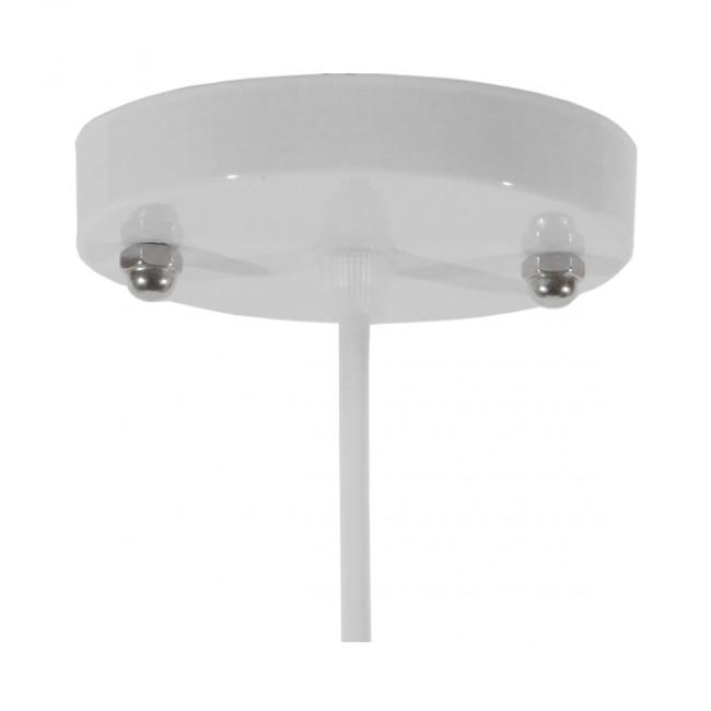 Vintage Industrial Κρεμαστό Φωτιστικό Οροφής Μονόφωτο Λευκό Μεταλλικό Καμπάνα Φ26 GloboStar RAY WHITE 01044 - 7
