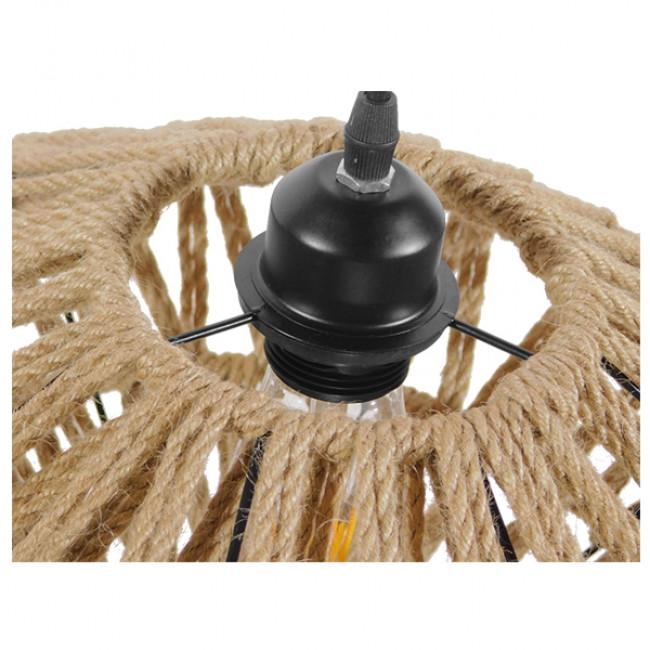 Vintage Κρεμαστό Φωτιστικό Οροφής Μονόφωτο Μαύρο Μεταλλικό Πλέγμα με Μπεζ Σχοινί Φ40 GloboStar NATHLEN 01187 - 9