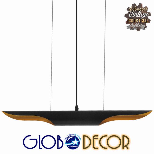 Μοντέρνο Κρεμαστό Φωτιστικό Οροφής Δίφωτο Μαύρο - Χρυσό Μεταλλικό  ESTERINA 01304 - 1