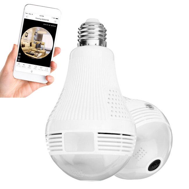 76073 WIFI 2.4G IP CAMERA 2.0MP 1080P - Έξυπνη Κρυφή IP Κάμερα WiFi 1080P Fish Eye 360° 3W LED σε Σχήμα Λάμπας με Ντουί και Βάση E27 Smart Home - 2