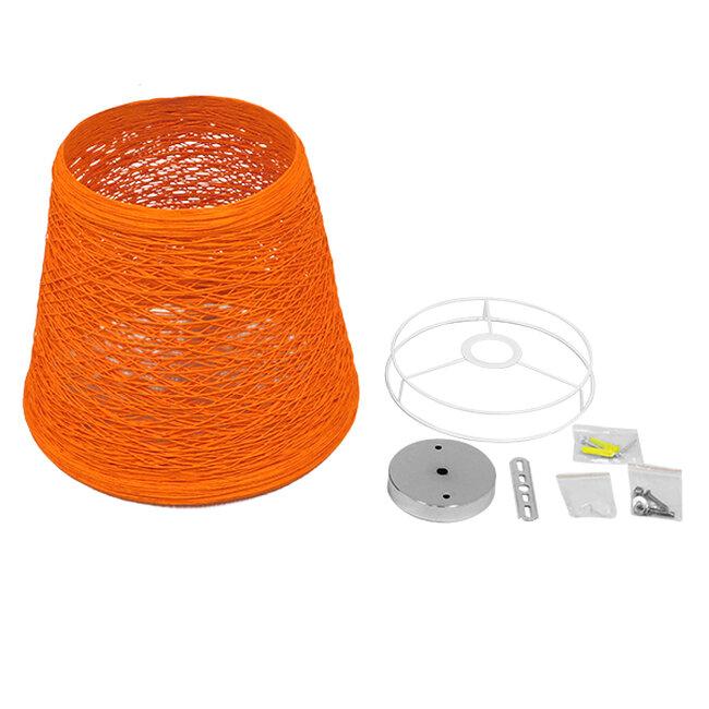 Vintage Κρεμαστό Φωτιστικό Οροφής Μονόφωτο Πορτοκαλί Ξύλινο Ψάθινο Rattan Φ32  ARGENT ORANGE 00997 - 6