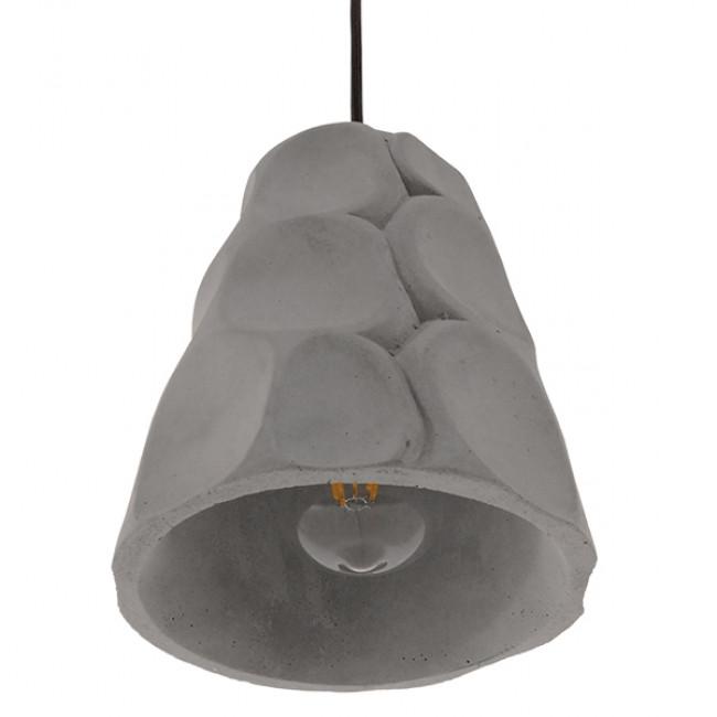 Μοντέρνο Industrial Κρεμαστό Φωτιστικό Οροφής Μονόφωτο Γκρι Τσιμέντο Καμπάνα Φ18 GloboStar COMO 01327 - 6