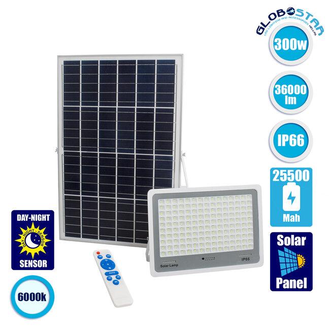 71562 Αυτόνομος Ηλιακός Προβολέας LED SMD 300W 36000lm με Ενσωματωμένη Μπαταρία 25500mAh - Φωτοβολταϊκό Πάνελ με Αισθητήρα Ημέρας-Νύχτας και Ασύρματο Χειριστήριο RF 2.4Ghz Αδιάβροχος IP66 Ψυχρό Λευκό 6000K - 1