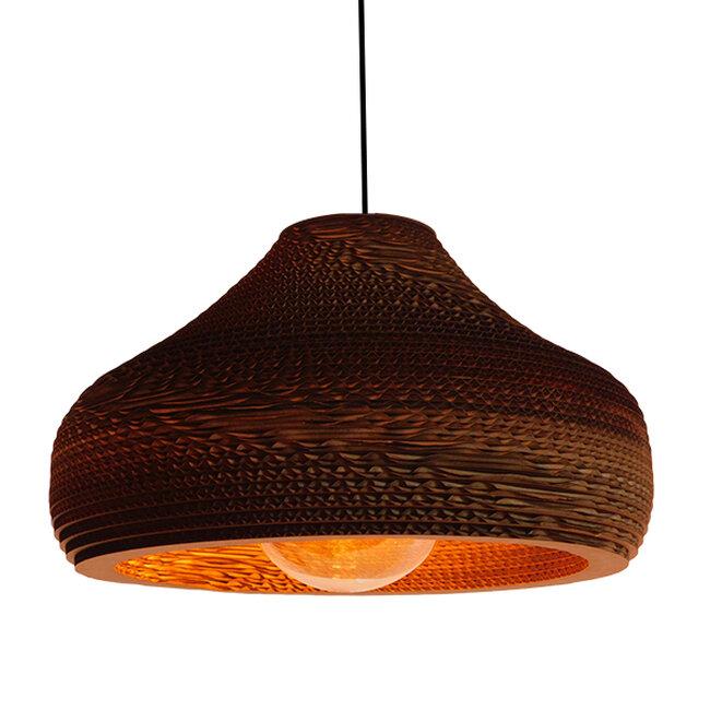 Vintage Κρεμαστό Φωτιστικό Οροφής Μονόφωτο 3D από Επεξεργασμένο Σκληρό Καφέ Χαρτόνι Καμπάνα Φ35  MILOS 01291 - 9