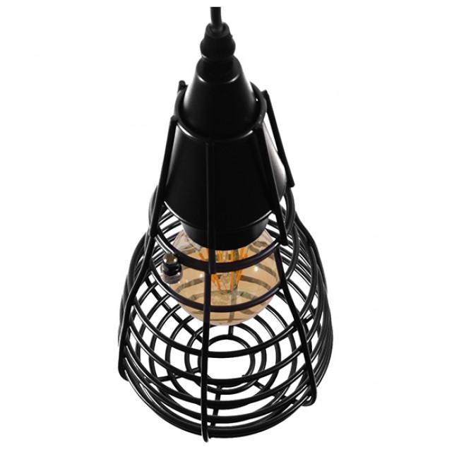 Vintage Industrial Κρεμαστό Φωτιστικό Οροφής Μονόφωτο Μαύρο Μεταλλικό Πλέγμα Φ13 GloboStar ALDO 01058 - 5
