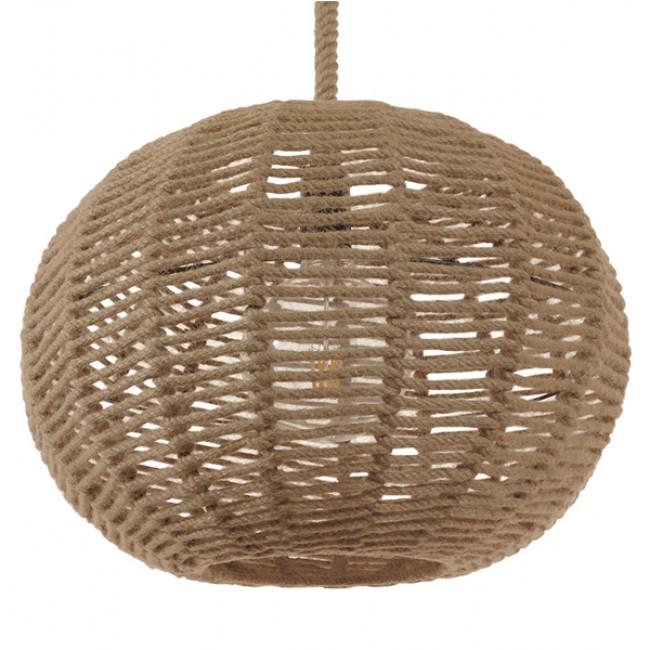 Vintage Κρεμαστό Φωτιστικό Οροφής Μονόφωτο Πλέγμα με Μπεζ Σχοινί Φ42 GloboStar CAPRI 01331 - 1
