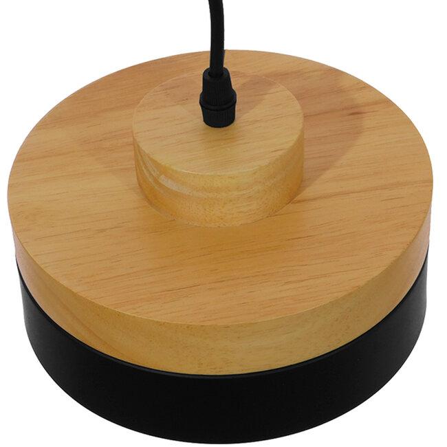 Μοντέρνο Κρεμαστό Φωτιστικό Οροφής Μονόφωτο Μαύρο Μεταλλικό με Φυσικό Ξύλο Καμπάνα Φ18  RUHIEL 01233 - 5