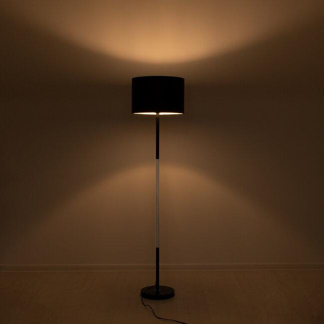 ASHLEY 00824 Μοντέρνο Φωτιστικό Δαπέδου Μονόφωτο Μεταλλικό Μαύρο με Καπέλο και Ξύλινη Λεπτομέρεια Φ40 x Υ145cm - 3