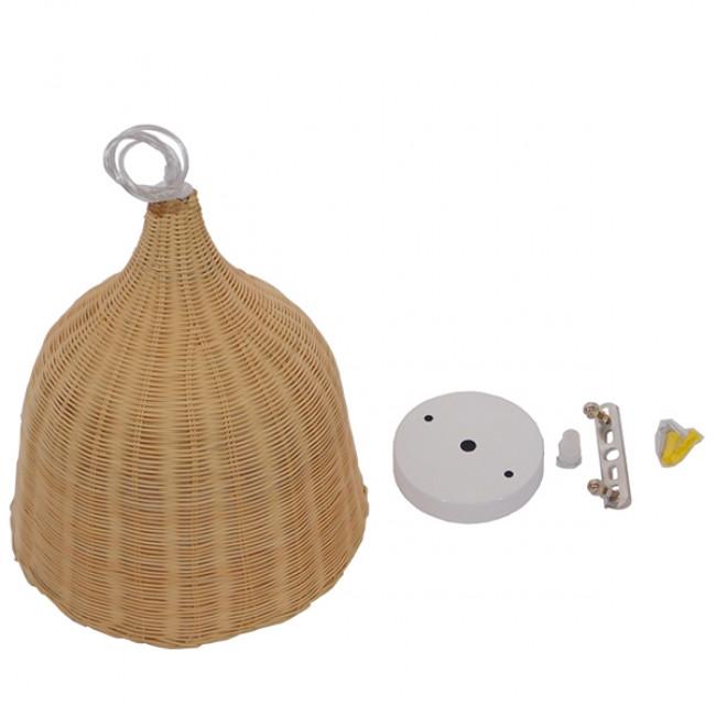 Vintage Κρεμαστό Φωτιστικό Οροφής Μονόφωτο Μπεζ Ξύλινο Ψάθινο Rattan Φ45  NATH 01203 - 9