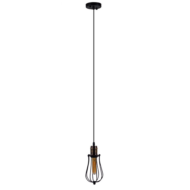 Vintage Industrial Κρεμαστό Φωτιστικό Οροφής Μονόφωτο Μαύρο Μεταλλικό Πλέγμα Φ11  DELTA 01016 - 2
